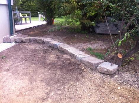 Rund um unsre neue Gartenstufe muss ein bisschen Grün her.