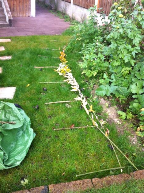Für meine ca. 3 Meter langen Zaunelemente, hab ich die Pfähle im Abstand von etwa 50 cm gesetzt. Nimmt man kürzere Ästchen, muss man sie näher zusammensetzen, sonst hält das nicht. Echt nicht!